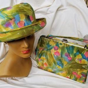SO RARE Vintage 60s MOD era HAT/hand bag PURSE SET